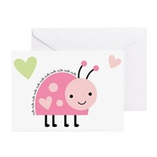Pink Ladybug Greeting Cards (Pk of 10)