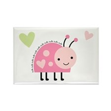 Pink Ladybug Rectangle Magnet