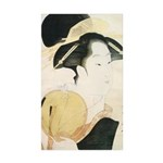Utamaro block print Sticker (Rectangle 50 pk)