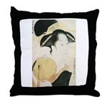 Utamaro block print Throw Pillow