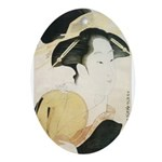 Utamaro block print Ornament (Oval)