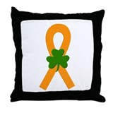 Orange Shamrock Ribbon Throw Pillow