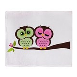 Lovely Owl Couple Throw Blanket