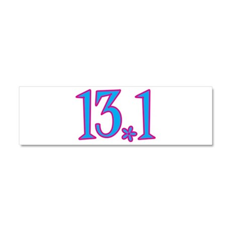 13.1 pink blue flower Car Magnet 10 x 3