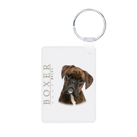 Brindle Boxer Aluminum Photo Keychain