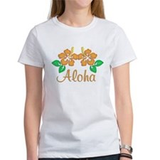 "Orange ""Aloha"" Hawaiian Flowe Tee"