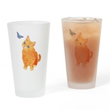 Quizzical Kitten Drinking Glass