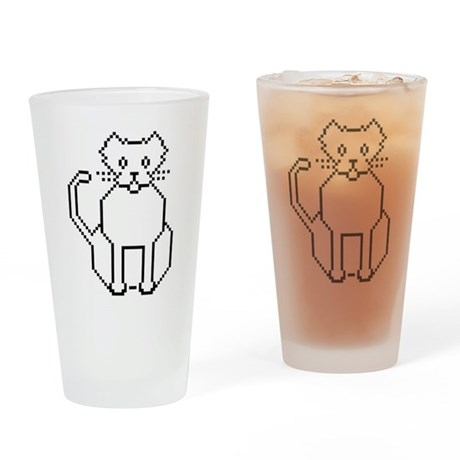 Pixel Cat Drinking Glass