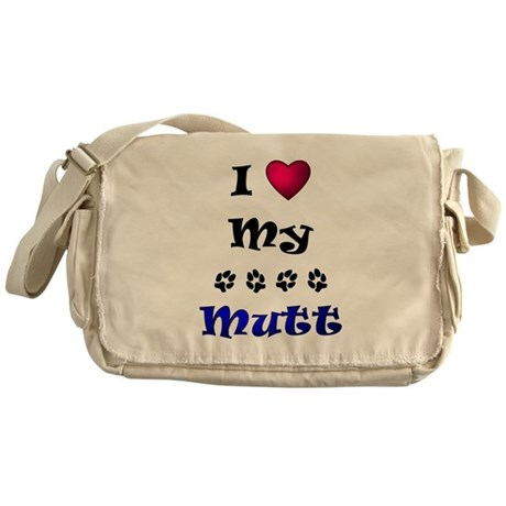 I Love My Mutt Messenger Bag