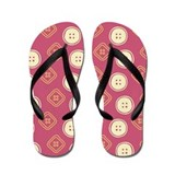 Red Polka Buttons Flip Flops