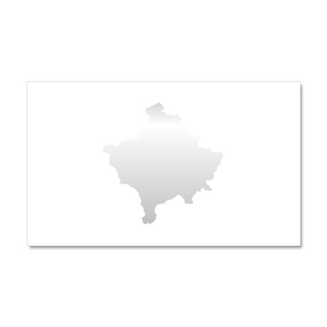 Kosovo Map Silver Car Magnet 20 x 12