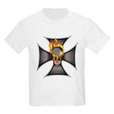 Flaming Skull Kids T-Shirt