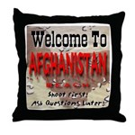 Welcome To Afghanistan Beach Throw Pillow