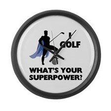 Golf Superhero Large Wall Clock