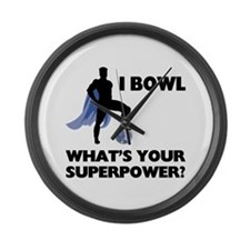 Bowling Superhero Large Wall Clock