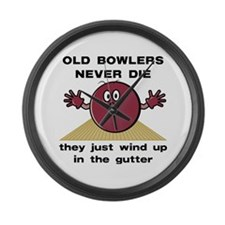 Old Bowlers Never Die Large Wall Clock