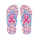 Breast Cancer Ribbon Polka Dot Flip Flops