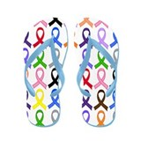 Awareness Ribbons Colorful Flip Flops