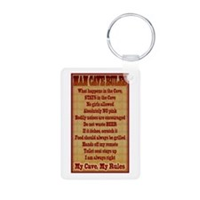Man Cave Rules Aluminum Photo Keychain