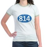 Blue Erie, PA 814 Jr. Ringer T-Shirt