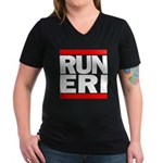 RUN ERI Women's V-Neck Dark T-Shirt