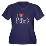 I Heart Luke & Laura Women's Plus Size V-Neck Dark