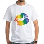 Big Rainbow Lips White T-Shirt