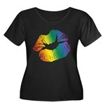 Big Rainbow Lips Women's Plus Size Scoop Neck Dark T-Shirt