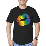 Big Rainbow Lips Men's Fitted T-Shirt (dark)