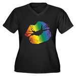 Big Rainbow Lips Women's Plus Size V-Neck Dark T-Shirt