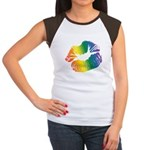 Big Rainbow Lips Women's Cap Sleeve T-Shirt