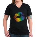 Big Rainbow Lips Women's V-Neck Dark T-Shirt