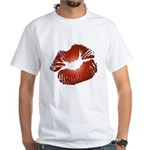 Red Lips Kiss White T-Shirt