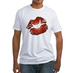 Red Lips Kiss Fitted T-Shirt