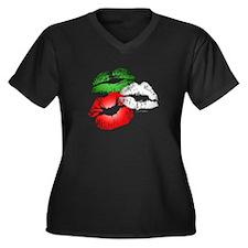 Italian Kissing Lips Women's Plus Size V-Neck Dark