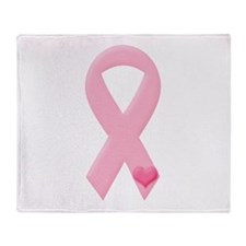 Pink Ribbon & Heart Throw Blanket