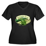 Salmonella Farms - Cilantro Women's Plus Size V-Neck Dark T-Shirt