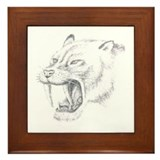 Smilodon Den Framed Tile
