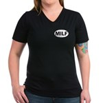 MILF Euro Oval Women's V-Neck Dark T-Shirt
