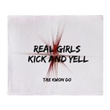 Taekwondo Girls Kick Throw Blanket
