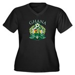 Ghana Soccer Women's Plus Size V-Neck Dark T-Shirt