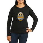 Smiley Easter Egg Women's Long Sleeve Dark T-Shirt