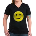 Smiley Face - Evil Grin Women's V-Neck Dark T-Shirt