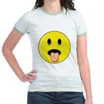 Smiley Face - Tongue Out Jr. Ringer T-Shirt