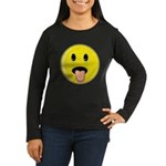 Smiley Face - Tongue Out Women's Long Sleeve Dark T-Shirt