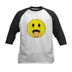 Smiley Face - Tongue Out Kids Baseball Jersey