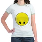 Smiley Face - Looking Down Jr. Ringer T-Shirt