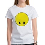 Smiley face looking down women s t shirt