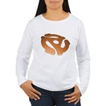 Orange 3D 45 RPM Adapter Women's Long Sleeve T-Shirt