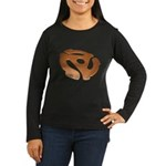 Orange 3D 45 RPM Adapter Women's Long Sleeve Dark T-Shirt